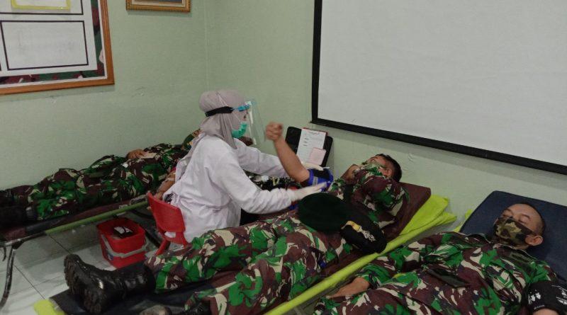 Prajurit Batalyon Arhanud 1 Lakukan Donor Darah