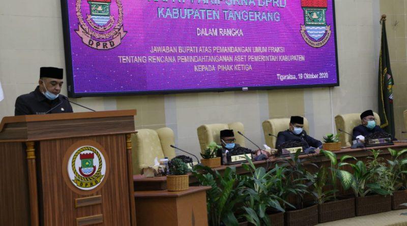 Bupati Tangerang Sampaikan Jawaban Rencana Pemindahantanganan Barang Milik Daerah